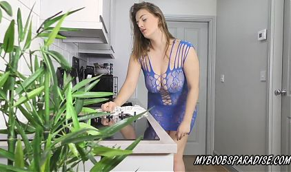 Busty Lottii Rose, bouncing boobs and nipple play at Home