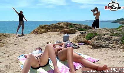 Spanish teenager girls seduced for foursome at the beach